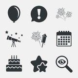 Birthday party icons. Cake and gift box symbol. Birthday party icons. Cake and gift box signs. Air balloon and fireworks symbol. Attention, investigate and royalty free illustration