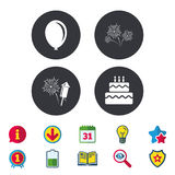 Birthday party icons. Cake and gift box symbol. Stock Photo