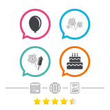 Birthday party icons. Cake and gift box symbol. Birthday party icons. Cake and gift box signs. Air balloon and fireworks symbol. Calendar, internet globe and Royalty Free Stock Photography