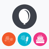 Birthday party icons. Cake and gift box symbol Royalty Free Stock Photography
