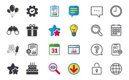 Birthday party icons. Cake and gift box symbol. Birthday party icons. Cake and gift box signs. Air balloons and fireworks symbol. Chat, Report and Calendar Royalty Free Stock Photos