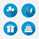 Birthday party icons. Cake and gift box symbol. Birthday party icons. Cake and gift box signs. Air balloons and fireworks symbol. Circle concept web buttons Stock Images