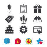 Birthday party icons. Cake and gift box symbol. Birthday party icons. Cake and gift box signs. Air balloons and fireworks rockets symbol. Browser window, Report Royalty Free Stock Photo