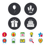 Birthday party icons. Cake and gift box symbol. Stock Photos