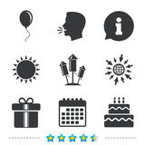 Birthday party icons. Cake and gift box symbol. Birthday party icons. Cake and gift box signs. Air balloons and fireworks rockets symbol. Information, go to web Royalty Free Stock Photo
