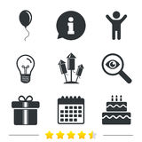 Birthday party icons. Cake and gift box symbol. Royalty Free Stock Image