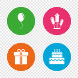 Birthday party icons. Cake and gift box symbol. Birthday party icons. Cake and gift box signs. Air balloons and fireworks rockets symbol. Round buttons on Royalty Free Stock Images