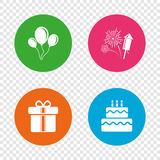 Birthday party icons. Cake and gift box symbol. Birthday party icons. Cake and gift box signs. Air balloons and fireworks symbol. Round buttons on transparent Royalty Free Stock Photography