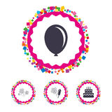 Birthday party icons. Cake and gift box symbol. Web buttons with confetti pieces. Birthday party icons. Cake and gift box signs. Air balloon and fireworks Royalty Free Stock Photos