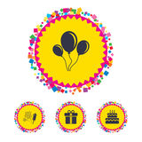 Birthday party icons. Cake and gift box symbol. Web buttons with confetti pieces. Birthday party icons. Cake and gift box signs. Air balloons and fireworks Stock Image
