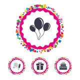 Birthday party icons. Cake and gift box symbol. Web buttons with confetti pieces. Birthday party icons. Cake and gift box signs. Air balloons and fireworks Royalty Free Stock Images