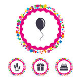 Birthday party icons. Cake and gift box symbol. Royalty Free Stock Images