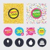 Birthday party icons. Cake with ice cream symbol. Stock Photography