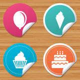 Birthday party icons. Cake with ice cream symbol. Round stickers or website banners. Birthday party icons. Cake with ice cream signs. Air balloon symbol. Circle Stock Image