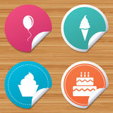 Birthday party icons. Cake with ice cream symbol. Round stickers or website banners. Birthday party icons. Cake with ice cream signs. Air balloon with rope Royalty Free Stock Images