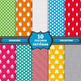 Birthday party icons. Cake with ice cream symbol. Seamless textures. Birthday party icons. Cake with ice cream signs. Air balloon symbol. Endless patterns with Royalty Free Stock Images
