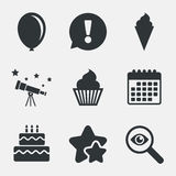 Birthday party icons. Cake with ice cream symbol. Birthday party icons. Cake with ice cream signs. Air balloon symbol. Attention, investigate and stars icons Royalty Free Stock Photos