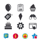 Birthday party icons. Cake with ice cream symbol. Birthday party icons. Cake with ice cream signs. Air balloon symbol. Browser window, Report and Service signs vector illustration