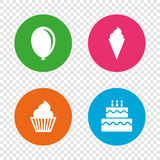 Birthday party icons. Cake with ice cream symbol. Birthday party icons. Cake with ice cream signs. Air balloon symbol. Round buttons on transparent background royalty free illustration