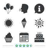 Birthday party icons. Cake with ice cream symbol. Royalty Free Stock Images