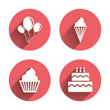 Birthday party icons. Cake with ice cream symbol Stock Image