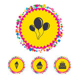 Birthday party icons. Cake with ice cream symbol. Royalty Free Stock Photography