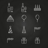 Birthday party icons on chalkboard Royalty Free Stock Image