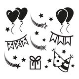 Birthday party icons, mono vector symbols. Celebration Icons and Party Icons with White Background Stock Images