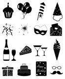 Birthday party icons set. In black Stock Photo
