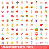 100 birthday party icons set, cartoon style. 100 birthday party icons set in cartoon style for any design vector illustration stock illustration