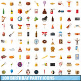 100 birthday party icons set, cartoon style Stock Image