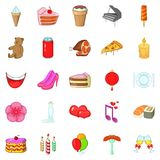 Birthday party icons set, cartoon style. Birthday party icons set. Cartoon set of 25 birthday party vector icons for web isolated on white background Royalty Free Stock Photography