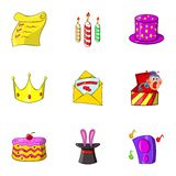 Birthday party icons set, cartoon style Royalty Free Stock Image