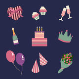 Birthday party icons set and celebration icon. Birthday collection symbols. Illustration. Birthday party icons set and celebration icon. Birthday collection Royalty Free Stock Photo