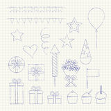 Birthday party icons set Royalty Free Stock Photography
