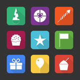 Birthday party icons set Royalty Free Stock Image