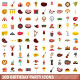 100 birthday party icons set, flat style. 100 birthday party icons set in flat style for any design vector illustration royalty free illustration