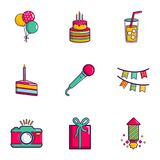 Birthday party icons set, flat style. Birthday party icons set. Flat set of 9 birthday party vector icons for web isolated on white background Stock Image