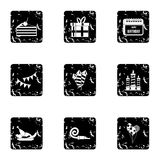 Birthday party icons set, grunge style. Birthday party icons set. Grunge illustration of 9 birthday party vector icons for web Stock Image