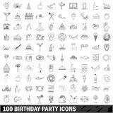 100 birthday party icons set, outline style. 100 birthday party set in outline style for any design vector illustration Royalty Free Stock Photos