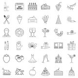 Birthday party icons set, outline style. Birthday party icons set. Outline style of 36 birthday party vector icons for web isolated on white background Stock Image