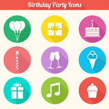 Birthday Party Icons Set - Vector EPS10. Flat Design Birthday Party Icons Set Stock Photography