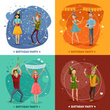 Birthday Party 4 Icons Square Composition Stock Photo