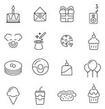 Birthday Party Icons Thin Line Vector Illustration Set. This image is a vector illustration and can be scaled to any size without loss of resolution Royalty Free Stock Image