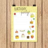 Birthday party invitation or banner in doodle style royalty free illustration