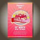 Birthday party invitation with berry tart. Template of birthday party invitation with berry tart Stock Photo