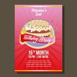 Birthday party invitation with big cake and candle. Additional in eps 10 Royalty Free Stock Image