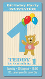 Birthday party invitation card with cute bear vector template 1 year old Stock Photo
