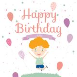 Birthday Party Invitation card with cute boy Royalty Free Stock Image