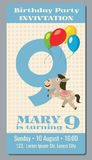 Birthday party invitation card with cute horse vector template 9 years old. Poster invintation to birthday celebrate illustration Royalty Free Stock Image